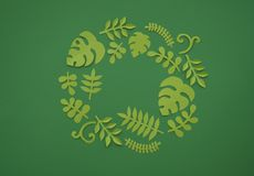 Summer Tropical leaves, plants Frame. Paper cut style. Exotic summertime. Stock Photo