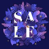 Summer tropical leaves sale banner. Summer sale banner with paper cut tropical leaves on purple background. Trendy exotic floral design for promotion offers Royalty Free Stock Photo