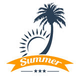 Summer tropical palm tree and sun. Design Stock Photography