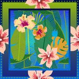 Summer tropical paradise. Squared silk scarf with banana leaves and blooming flowers on gradient background. Aloha textile collection. Green, blue, white and Royalty Free Stock Photos