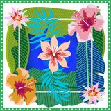 Summer tropical paradise. Squared silk scarf with banana leaves and blooming flowers on gradient background. Aloha textile collection. Green, blue, white and Royalty Free Stock Image