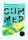 Summer Tropical Party typographic grunge vintage poster design with palm leaves. Retro vector illustration. Stock Image