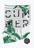 Summer Tropical Party typographic grunge vintage poster design with palm leaves. Retro vector illustration. Stock Images