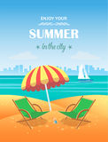 Summer tropical poster. Vector background Royalty Free Stock Photography