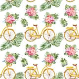 Watercolour Tropical seamless pattern with exotic green foliage, pink flowers and yellow bicycle on white background. Summer print. Summer tropical seamless vector illustration