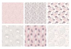 Summer tropical seamless patterns collection. Set of exotic hawaiian plants, palm leaves, flamingo hand drawn doodles. Good for wallpaper, invitation cards vector illustration