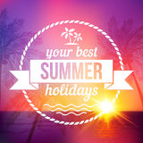 Summer Tropical Sunset Background With Text Badge Royalty Free Stock Images