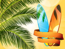 Summer tropical surfboard with banner Stock Images