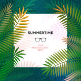 Summer tropical template with palm leaves Stock Photos