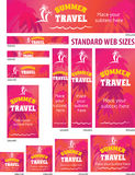 Summer Tropical Travel Web Banners Set Royalty Free Stock Image