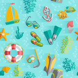 Summer tropical vacation seamless pattern Royalty Free Stock Photo