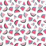 Summer tropical vector seamless pattern of watermelon wedges. Royalty Free Stock Photo