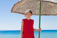 Summer in Turkey. The Boy Have Fun at the Beach Royalty Free Stock Images