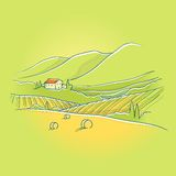 Summer tuscan landscape. With sweet house on the hill Royalty Free Stock Images