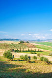 Summer Tuscan landscape, green field and blue sky Royalty Free Stock Photography