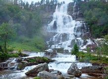 Summer Tvindefossen waterfalls (Norway) Stock Images