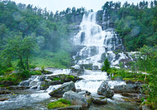 Summer Tvindefossen waterfalls (Norway) Royalty Free Stock Photos