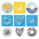 Summer typographic logo,icons,label set.Template Stock Photos