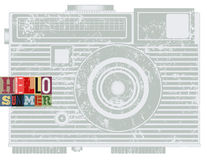 Summer typographic retro grunge poster with camera. Vector illustration. Stock Photo