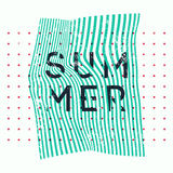 Summer typographic vintage grunge poster design on misshapen lines abstract geometric background. Retro vector illustration. Stock Photo
