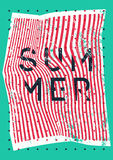 Summer typographic vintage grunge poster design on misshapen lines abstract geometric background. Retro vector illustration. Royalty Free Stock Photos