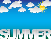 Summer typography background. Background with the summer text on a blue background with clouds Stock Photography