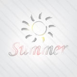 Summer Typography. Background in retro style with a sun and label Royalty Free Stock Photography