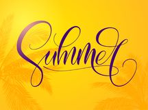 Summer typography on bright orange background. Template for font composition. Hello, party, holidays, collection, love stock illustration