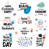 Summer Typography Design. Cute Summer Typography Design Set with Trendy Summer Elements. Summer Typographic. Vector. Isolated. White Background. Scandinavian Royalty Free Stock Photos
