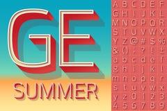 Summer typography design. Vector retro alphabet for summer typography design. Compact light style Royalty Free Stock Image