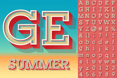Summer typography design. Vector retro alphabet for summer typography design. Simple Bold Style Royalty Free Stock Photo