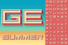 Summer typography design. Vector retro alphabet for summer typography design. Techno style Stock Photography