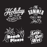 Summer typography and holiday words royalty free illustration