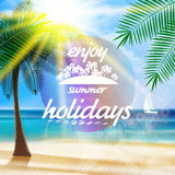 Summer typography holidays template. Stock Image