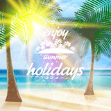 Summer typography holidays template. Royalty Free Stock Photography