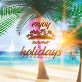 Summer typography holidays template. Stock Photo