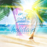 Summer typography holidays template. Stock Photos