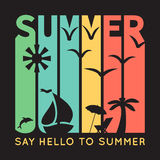 Summer Typography With Beach Icons, T-shirt Royalty Free Stock Image
