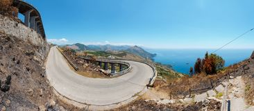 Road to statue of Christ the Redeemer Maratea, Italy Royalty Free Stock Photo