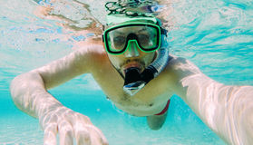 Summer underwater selfie Royalty Free Stock Photography