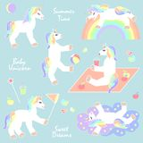 Summer unicorns set. royalty free illustration