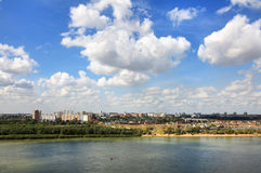 Summer urban landscape with clouds. Omsk. Russia. Stock Photos