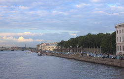 Summer urban landscape, St. Petersburg, Russia. Embankment of the Neva river in summer Royalty Free Stock Photo