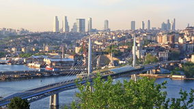 Summer urban scenery with The Galata bridge, Turkey stock footage