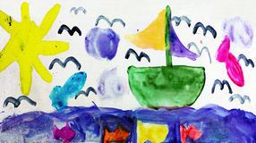 Summer vacation. Child drawing boat sun  birds and fishes Royalty Free Stock Photography
