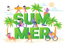Banner on summer vacation theme. Outdoor activity and rest on the beach. Horizontal poster with active characters women and men. Sport and active life royalty free illustration