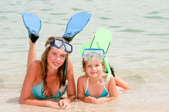 Summer vacation. Snorkel girls portrait Royalty Free Stock Images