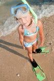 Summer vacation. Snorkel girl portrait Stock Photos