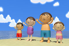 Summer vacation. Families come to play in the sea. In the summer enjoy the sea. Family of four, father, mother, son, daughter play with. Illustration 3DCG Stock Image