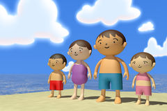 Summer vacation. Families come to play in the sea. In the summer enjoy the sea. Family of four, father, mother, son, daughter play with. Illustration 3DCG Royalty Free Stock Photography
